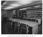 University of Washington Health Sciences Building interior showing library, Seattle, 1950