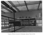 Ashwood Elementary School exterior showing covered walkway, Bellevue, 1957