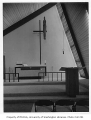 Christ the King Church interior showing altar, Bellevue, 1956
