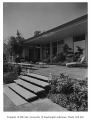 Dulien residence exterior showing patio, Seattle, 1959