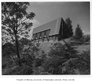 Christ the King Church exterior from rear, Bellevue, 1956