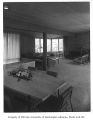 Moffett residence interior showing living and dining areas, Seattle, 1954