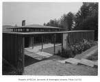 Lange residence exterior showing entrance, Mercer Island, 1959