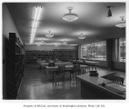 Seattle Public Schools Administration Building interior showing library, Seattle, n.d.