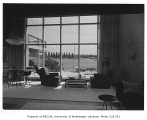 Newell residence interior showing living room, Seattle, 1954