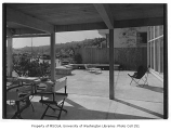 Newell residence exterior showing patio, Seattle, 1954