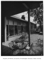 Preston residence exterior showing patio, Seattle, 1953