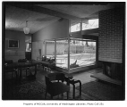 Isaacs residence interior showing dining and sitting areas, Bellevue, 1953
