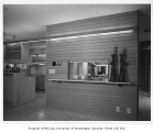 Buckley residence interior showing entrance to kitchen, Medina, 1962