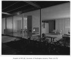 Bowman residence interior showing living and dining rooms, Kirkland, 1956