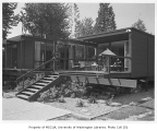 Buckley residence exterior showing deck, Medina, 1962