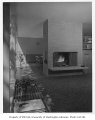 Bowman residence interior showing fireplace, Kirkland, 1956