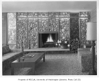 Buckley residence interior showing fireplace, Medina, 1962