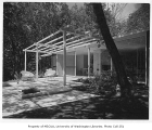 Bowman residence exterior showing patio, Kirkland, 1956