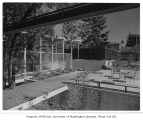 Putnam residence exterior showing patio, Bellevue, 1956