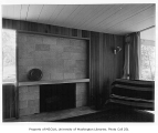 Dodds residence interior showing fireplace, Seattle, 1951