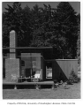 Lange residence exterior showing patio, Mercer Island, 1959