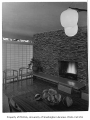 Putnam residence interior showing fireplace, Bellevue, 1956