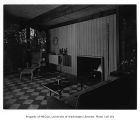 Fleming residence interior showing living room, Bellevue, 1953