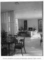 Blethen residence interior showing dining and living rooms, Seattle, 1957