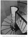 Clark residence interior showing stairway, Seattle, 1957