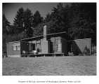 Lange residence exterior from rear, Mercer Island, 1959