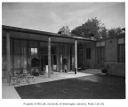 Blethen residence exterior showing patio, Seattle, 1957