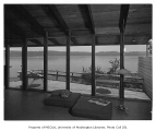 Koppel residence interior showing sitting room and deck, n.d.