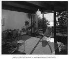 Mason residence interior showing dining area and deck, Richmond Beach, n.d.