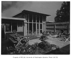 Dusanne residence exterior showing patio, Seattle, 1949