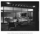 Moffett residence exterior showing patio and windows, Seattle, 1954
