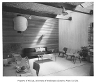 Steinbrueck residence interior showing dining and sitting areas, Seattle, 1952