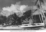 Sailboats and native dwellings on the beach facing the lagoon, Likiep Atoll, August 20, 1949