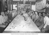 Dinner party held by Father Feeney at his new Catholic Mission, Likiep Atoll, August 21, 1949