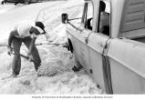 Frank Lowman shoveling sand away from a vehicle mired on Enjebi Island's beach, summer 1964