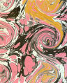 Modern 20th c. marbled paper, French curl on Turkish pattern