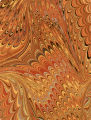 Modern 20th c. marbled paper,Wide comb drawn pattern
