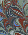 Modern 20th c. marbled paper, Turkish combed pattern