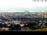 Panoramic view of the city of Krasnoyarsk with the Yenisey River in the background
