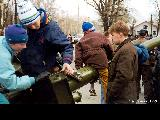 Children in Petrozavodsk exploring a rocket launcher during celebrations on May 9th, Russia's...