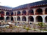 Courtyard of a hotel built in a restored caravanserai in Sheki