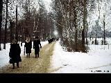 People going home after a church service in the village of Tarasovka