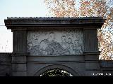 Gate with a frieze depicting Stalin surrounded by children in Tbilisi