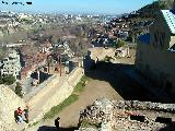 Looking down from the old city walls to the old town of Tbilisi