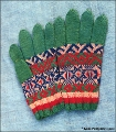 Pair of knitted gloves decorated with traditional Komi patterns