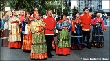 "Members of the folk group ""Pechora's Russia"" performing in traditional Komi costumes on..."
