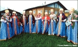 """Selyb Sunrises,"" a group of Komi folk singers, in traditional Komi costumes"