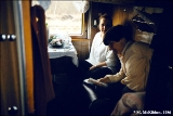 Train compartment on the Trans-Siberian second class, hard seats