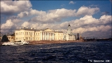 View of Vasilevsky Island from the Neva River with the Museum of Anthropology and Ethnography (the...