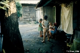 Children playing in a backyard in Krasnodar